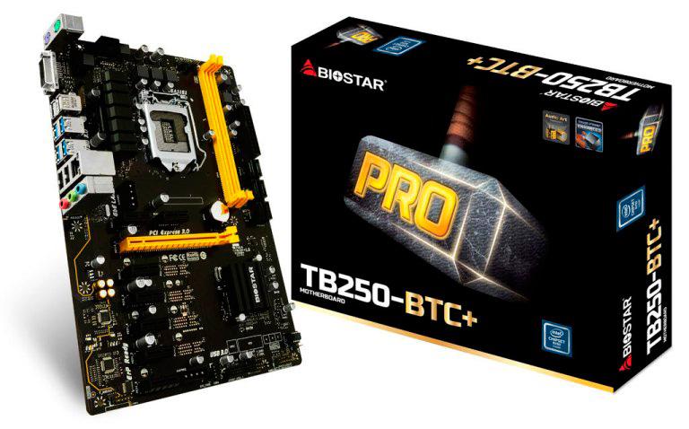 BIOSTAR TB250-BTC+, una de las mejores Motherboards 8 GPUs para Minería