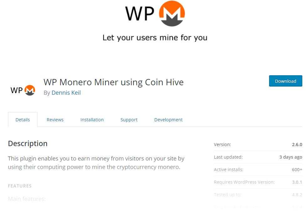 Plugin de minería Coinhive para WordPress