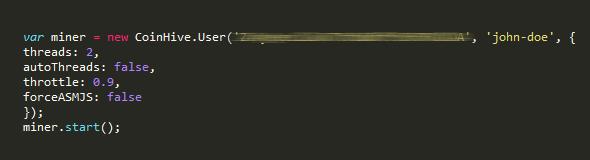 Código fuente de muestra con el minero implementado