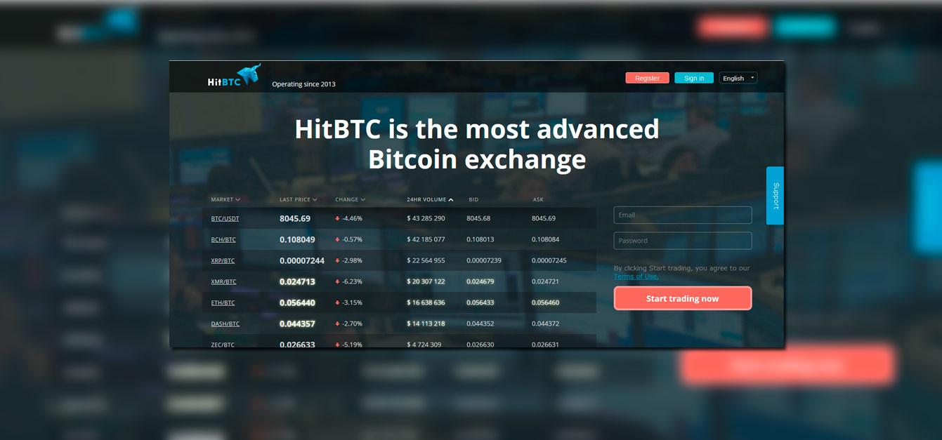 HitBTC un exchange con más de 100 criptomonedas para negociar