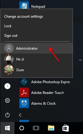 habilitar la cuenta de administrador integrada en Windows 10